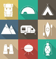 Camping Outine Icon Set of Adventure Elements vector image vector image