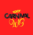 carnival 2019 composition on red background retro vector image