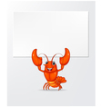 Cartoon lobster holding banner vector image vector image