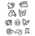 Communication technology for home and office icons vector image vector image