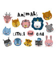 cute cartoon little animals childish print for vector image