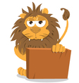 Cute Lion Holding a Blank Sign vector image