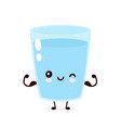 cute smiling strong happy water glass vector image vector image