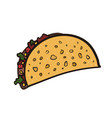 doodle bright outline mexican tacos symbol vector image