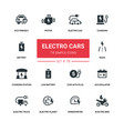 electro cars - line design silhouette icons set vector image vector image