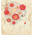Fashion girl floral head on the paper vector image vector image