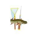 Fishing rod net and pike vector image