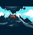 flat erupting volcano with red flame and smoke vector image vector image