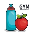 gym healthy lifestyle bottle water and apple vector image