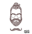 Hand Drawn Mustache Beard and Hair Style vector image vector image