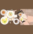 hand use smartphone take photo vector image vector image