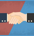 handshake on red blue background business vector image vector image