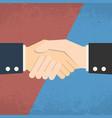 Handshake on red blue background business vector image
