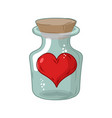 heart in jar love in flask amur in confinement of vector image