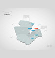 isometric djibouti map with city names and vector image vector image