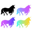 magical silhouette unicorn cartoon vector image vector image