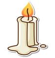 melting candle sticker on white background vector image