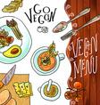 menu vegetarian cafe vector image