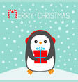 merry christmas candy cane penguin on snowdrift vector image vector image