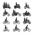 motorcycles and bicycles icons moto vehicles with vector image vector image