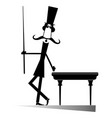 mustache man in the top hat playing a pool isolate vector image vector image