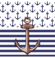 Nautical or marine themed pattern with anchor vector image vector image