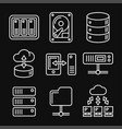 networking file share and nas server icons set vector image