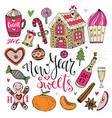 new year sweets set christmas hand drawn bright vector image vector image