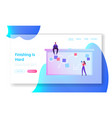 office workers website landing page woman put vector image vector image