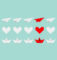 origami paper plane boat ship heart icon set vector image vector image
