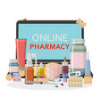 pharmacy background online store concept vector image