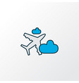 plane in the cloud icon colored line symbol vector image
