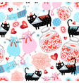 seamless holiday pattern loving cats and hearts vector image vector image