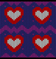 seamless knit pattern with red hearts vector image vector image