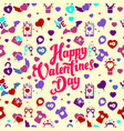 seamless pattern of cute hearts with handwriting vector image vector image