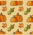 seamless pattern with corn pumkin and leaves vector image vector image