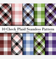 set 10 check plaid seamless pattern in brown vector image vector image