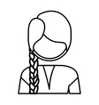silhouette half body woman with braid vector image vector image