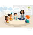 smiling kindergarten teacher and children sitting vector image vector image