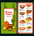spicy mexican cuisine menu vector image vector image