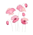 Stylized pink poppy isolated on white background vector image