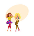 two girls women friends dancing at 80s retro vector image vector image