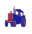 vintage farm tractor retro vector image