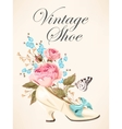 Vintage shoe with roses vector image vector image