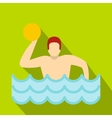 Water polo player in swimming pool icon flat style vector image vector image