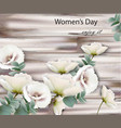 women day card with white flowers wood vector image