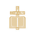 wooden cross of jesus christ and the bible vector image