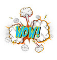 word wow on comic cloud explosion background vector image vector image