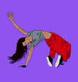 young woman dancing hip-hop or break-dance on the vector image
