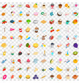 100 tea icons set isometric 3d style vector image vector image